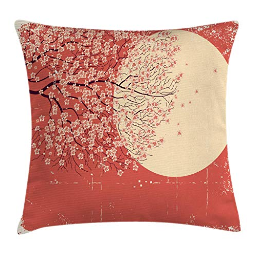 Ambesonne Spring Throw Pillow Cushion Cover Cherry Blossom Sakura Tree Branches on Moon Japanese Style Illustration Decorative Square Accent Pillow Case 26 X 26 Yellow Coral