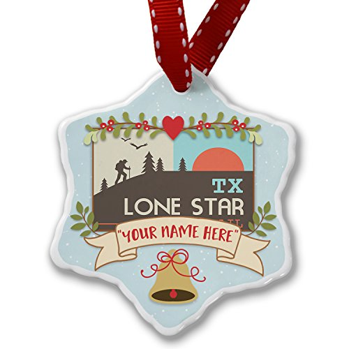 Add Your Own Custom Name US Hiking Trails Lone Star Hiking Trail - Texas Christmas Ornament NEONBLOND