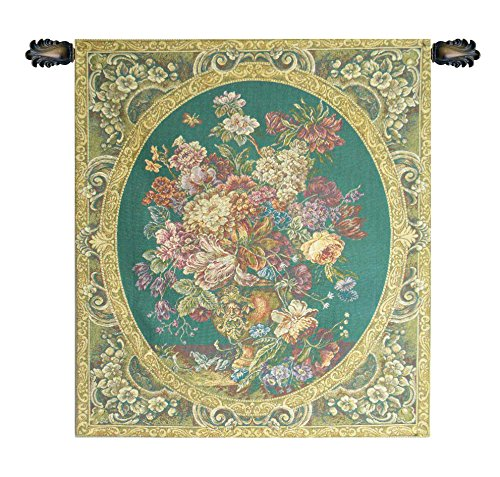 Floral Composition in Vase Green Italian Tapestry Wallhanging