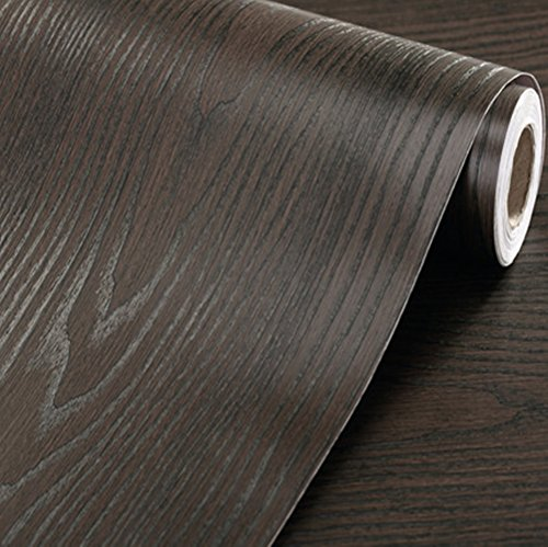 Emoyi Self-adhesive Removable Wood Grain Faux Finish Textured Vinyl Wrap Contact Paper Film for Home Office Furniture 12x79 Black