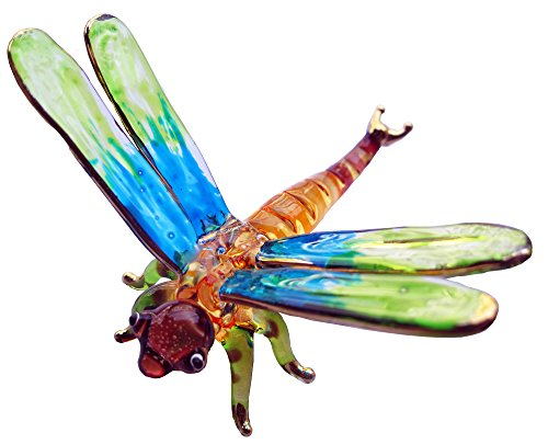 LOVELY DRAGONFLY HAND BLOWN CLEAR GLASS ART DRAGONFLY FIGURINE ANIMALS COLOR GLASS
