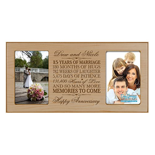 Personalized fifteen year anniversary gift her him couple Custom Engraved wedding celebration for Husband wife girlfriend boyfriend photo frame holds two 4x6 photos by DaySpring International Maple