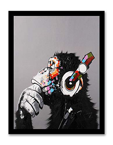 Modern Pop Art Decor - Framed - Thinking Monkey with Headphones Canvas Print Home Decor Wall Art Black Real Wood Frame 14x18