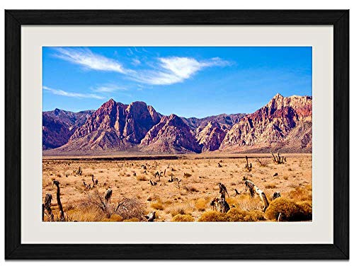 Nevada Desert Rocks Mountains red Rock Canyon - Art Prints Wall Wood Frames Posters Framed Picture Home Décor16x12inch Black Frame