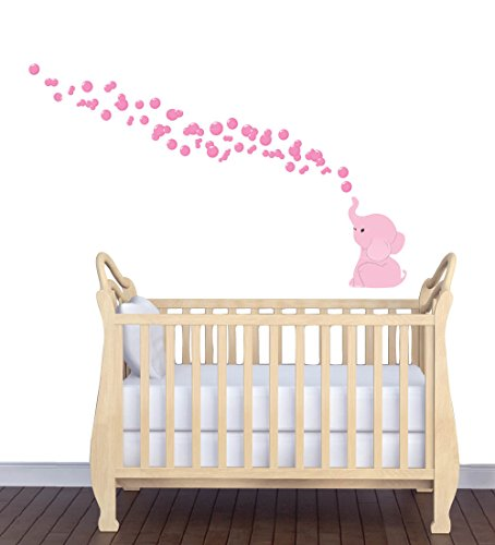 Reusable Wall Decals Animal Wall Decal Elephant Blowing Bubbles Decal Pink Mini Decal
