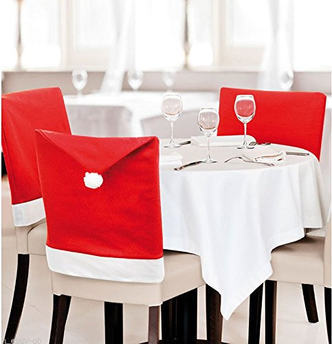 FIVOENDAR Set of 6 Large New Pack Santa Claus Hat Christmas Chair Covers Color Red - Fun Decoration in Wedding Parties Enjoy Responsibly Creative Novelty Gifts