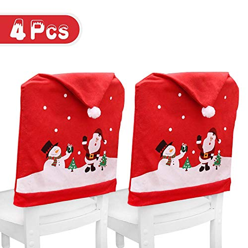 LUCKSTAR Chair Covers Set of 4 pcs Santa Claus Red Hat Chair Covers Set  Non-woven Chair Back Protect Cover for Holiday Festive Decor 4 pcs