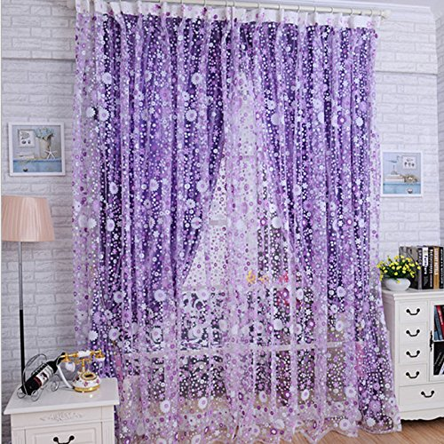 Fabal 1PC Print Floral Voile Door Sheer Window Curtains Room Curtain Divider Purple