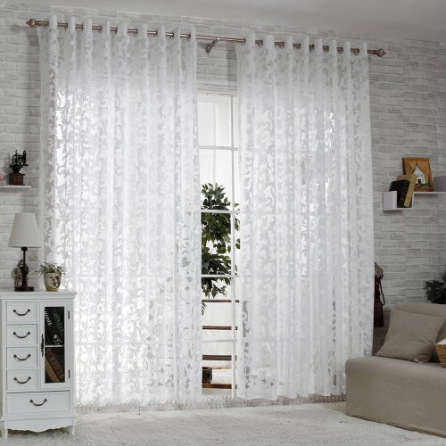 RLANG Solid Grommet Top Modern Embroidered sheer Curtain 1 Pair Bleach White 52W X 95 L