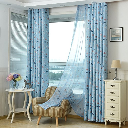 Sundlight 1pc 39×106 Cat Print Pattern Blackout Curtain Tie Up Shade Polyester Curtain Petal For Bedroom Baby Room Living Room