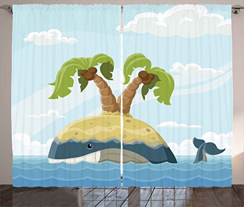 Fish Curtains by Ambesonne Cartoon Whale with Island on His Back Palm Trees Clouds Kids Playroom Nursery Decor Living Room Bedroom Window Drapes 2 Panel Set 108W X 84L Inches Multicolor