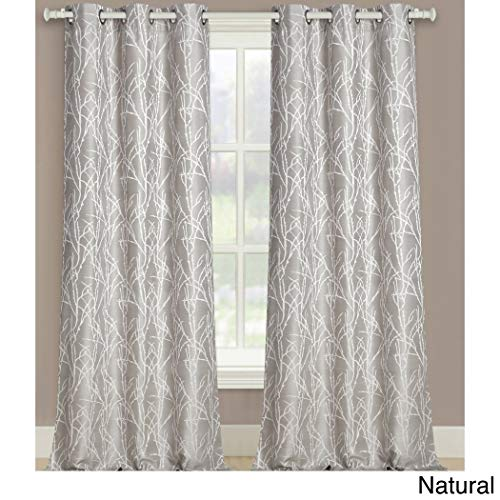2 Piece Girls Natural Vertical Twig Motif Floral Window Curtain 95 Inch Pair Panel Set Natural Grey Color Flower Nature Branch Pattern Jacquard Window Treatment Luxury Elegance Polyester Grommet