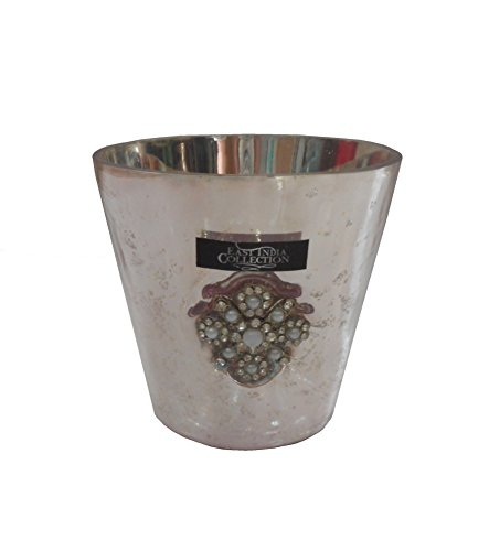 Home Essentials Sarni Mercury Glass Votive Holder with Crystal Accents 4 Inches Pale Pink
