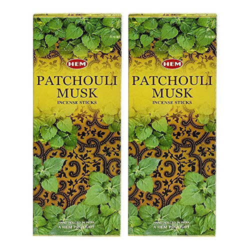 Hem Patchouli Musk Incense Sticks Agarbatti Masala - Pack of 12 Tubes 20 Sticks Each Box Total 240 Sticks - Quality Incense Hand Rolled in India for Healing Meditation Yoga Relaxation Prayer Peace
