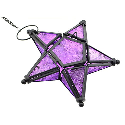 GlobalDeal Colorful Glass Hanging Five-pointed Star Light Holder Candle Lantern Bar Decor Purple