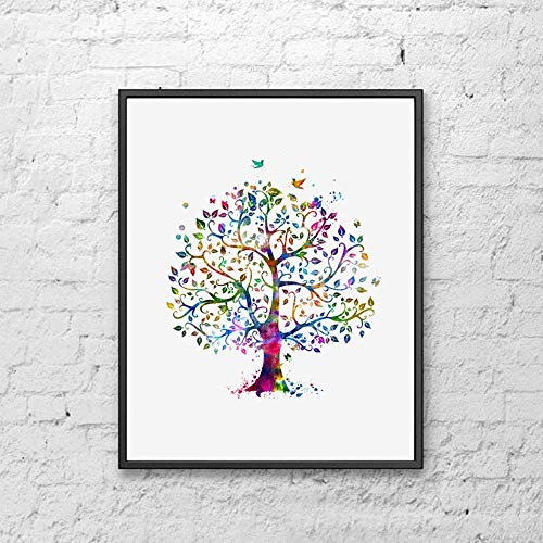 Tree Art Print Watercolor Colorful Family Tree Art Paper Poster Great Gift for Bedroom Tree Watercolor Wall Decor 8x10 inch Unframed
