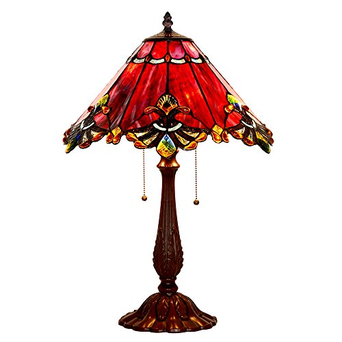 Bieye Tiffany Style Stained Glass Mission Table Lamp with Zinc Lamp Base and 17 inches Handmade Lampshade Red