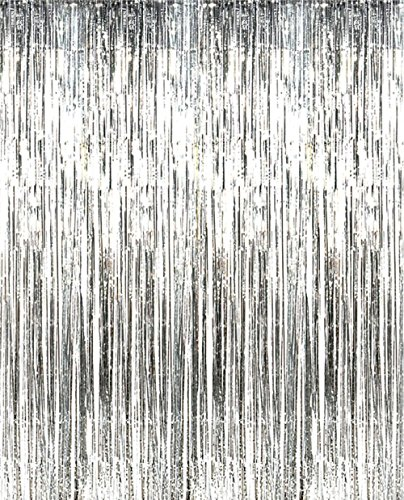 2 Pack 3 ft x 8 ft Metallic Silver Foil Fringe For Door Window Curtain Wall Decoration - Party Prom Wedding Birthday Event Decorations