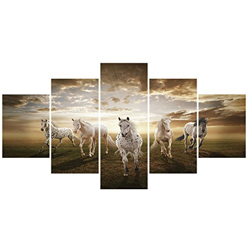 GEVES Unframed 5 pcs Art Prints Pictures Running Horses Large HD Modern Decorative Paintings for Living Room