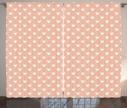 Valentine Curtains by Ambesonne Pattern with Cute White Hearts and Pastel Polka Dots Romantic Retro Living Room Bedroom Window Drapes 2 Panel Set 108W X 90L Inches White Peach Baby Pink