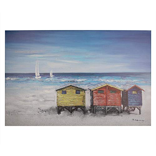 Coastal Beach Houses Wall Art Modern Printing On Canvas Painting with Hand Embellished Home Decor 24 x 36