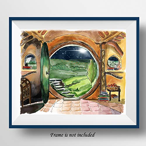 7Dots Art A Hobbit-Hole Watercolor Poster Dual Size A4 Adjustable to 8x10 on Fine Art Thick Watercolor Paper for Living Room Bedroom Bathroom Wall Art Decor