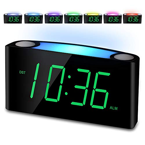Alarm Clock Large Number Digital LED Display with Dimmer Night Light USB Phone Charger Big Snooze Easy to Set for Kids Seniors Loud Bedroom Clock for Heavy Sleepers Teen Home Office Desk Travel
