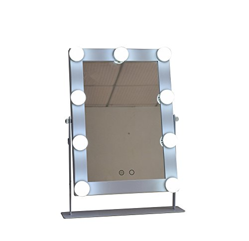 Large Makeup Mirror with 9 Big LED Bulbs Lighted Vanity Mirrors WhiteYellow Lights Touch Screen Adjustable Brightness White