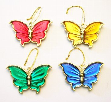 Colorful Butterfly Acrylic Ornament Set of 4