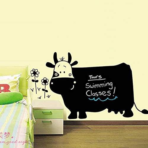 Big Cow Cartoon Flowers Writing Blackboard Vinyl Wall Decal PVC Home Sticker House Paper Decoration Wallpaper Living Room Bedroom Kitchen Art Picture DIY Murals Kids Nursery Baby Decor
