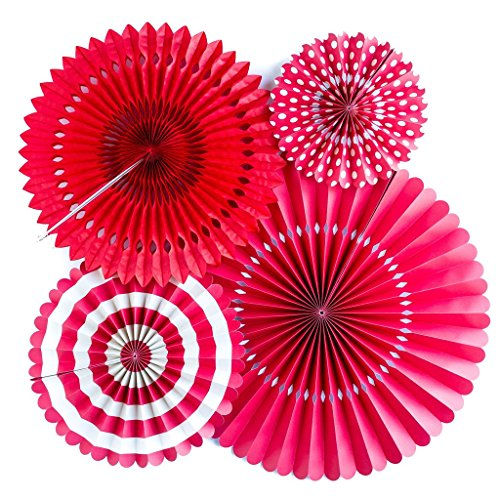 Jesipi Tissue Paper Fans Decorations Paper Fans Pack in Mixed Size for Baby Shower Birthday Party Decorations Hanging Fans Wedding Decoration Pack of 4 Red