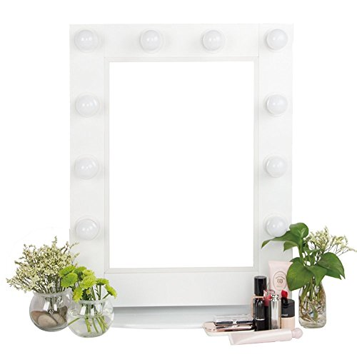 Alice Hollywood Mirror Tabletops or Wall Mount Lighted Makeup Mirror Broadway Vanity Mirror with LED Lights and Extra Outlets White