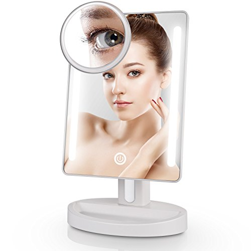 Miusco Lighted Makeup Mirror with 15X Magnifying Pocket Mirror Rectangle USB and Battery Operated