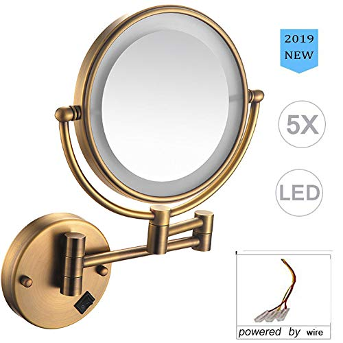 Allyine Wall Mounted Makeup Mirror Gold Magnifying LED Lighted Cosmetic Vanity Gold Mirror for Bathroom Two Sided Face Mirror Powered by Plug Hardwire USB RechargeableArchaizeHardwire