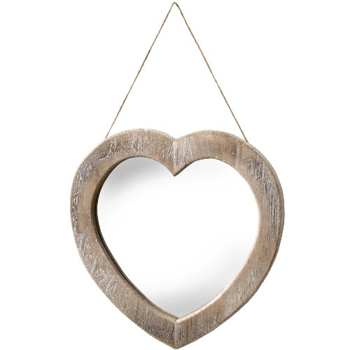 Hill Interiors Rustic Frame Heart Shaped Mirror One Size Brown