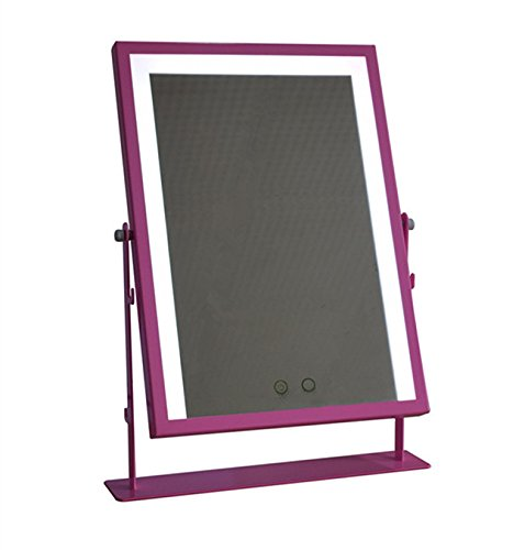 Professional Large Makeup Mirror with LED Light Hollywood Vanity Mirrors WhiteYellow Lights Can Be Hung 180 ° Rotation Touch Screen Adjustable Brightness Pink