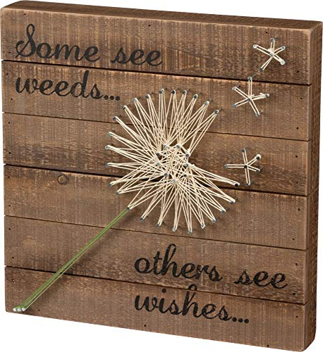 Primitives by Kathy String Art Box Sign Dandelion Wishes