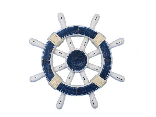 Hampton Nautical  Rustic Dark Blue and White Ship Wheel 12
