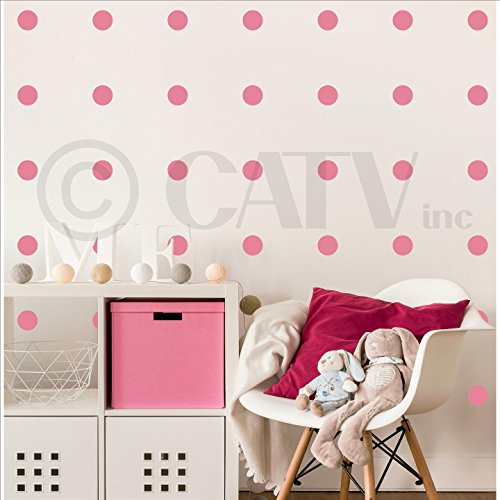 Polka Dot Removable Peel and Stick Vinyl Wall Pattern Decals 3 Set of 91 Pink