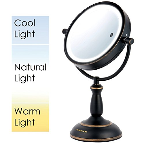 Ovente 85 Dual Sided SmartTouch LED Lighted Mirror with Timer Cool Warm Daylight Battery Operated 85 inch Oil Rubbed Bronze