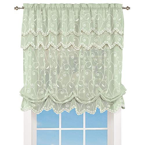 Collections Etc Sheer Balloon Curtain Shade with Scroll Pattern Rod Pocket Top 63 L x 54 W Sage 54 X 63