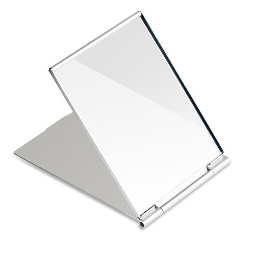 G2PLUS Portable Folding Vanity Mirror Single Side Travel Shower Shaving Mirror 49 x 37 x 02 Silver White