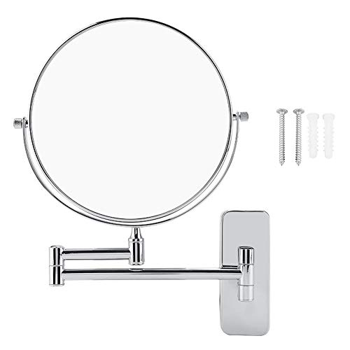 Wall Mount LED Lighted Makeup Mirror with 10X Magnification Double Sided Cosmetic Bathroom Mirror 360°Swivel and Rotatable