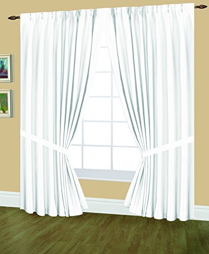 Editex Home Textiles Elaine Lined Pinch Pleated Window Curtain 96 by 95-Inch White