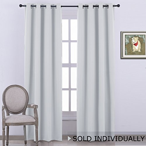 NICETOWN Room Darkening Curtain Window Panel Drape - Greyish White Silver Grey Color Room Darkening Panel for Bed room 52x84-Inch One Pack