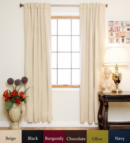Beige Rod Pocket Energy Saving Thermal Insulated Blackout Curtain 84 Inch Length Pair