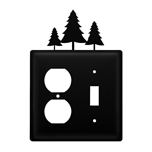 Iron Pine Trees Outlet Switch Cover - Heavy Duty Metal Light Switch Cover Electrical Outlet Covers Lightswitch Covers Wall Plate Cover