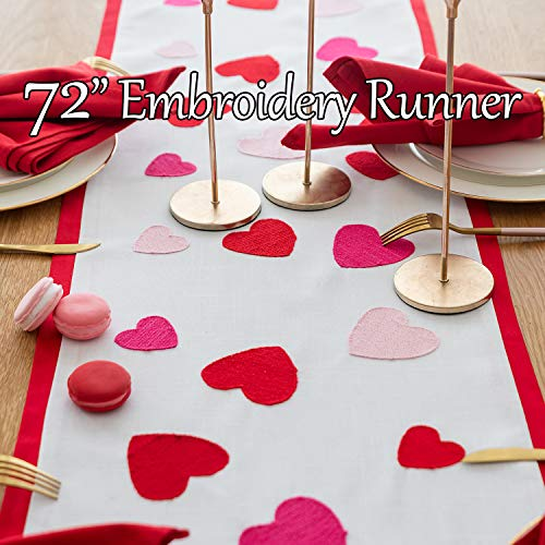 Cassiel Home Valentines Day Table Runner 72 inch Valentines Day Decorations Embroidered Pink Red Hearts Table Centerpieces Fireplace Mantel Scarf for Wedding Party Anniversary Dining Kitchen