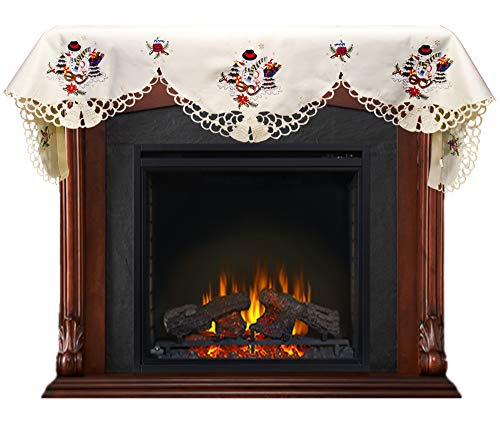 Embroidered Christmas Snowman and Packages on Ivory Fireplace Mantel Scarf 19 W x 90 L