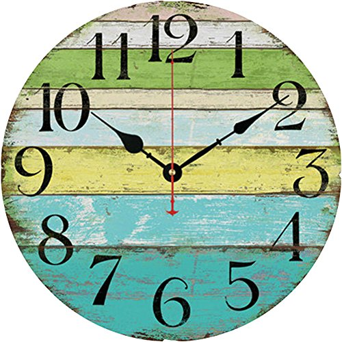 Grazing 12 Vintage Blue Green Yellow Colorful Stripe Design Rustic Country Tuscan Style Wooden Decorative Round Wall Clock Ocean